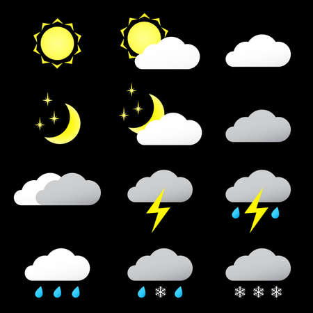 Vector illustration universal of color icons Weather.