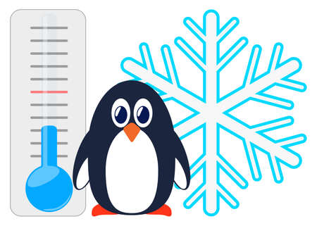 Penguin on the background of a thermometer and snowflakes. 向量圖像