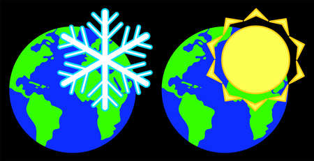 Snowflake and sun against the background of the planet.