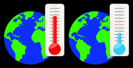 Thermometer against the background of the planet.