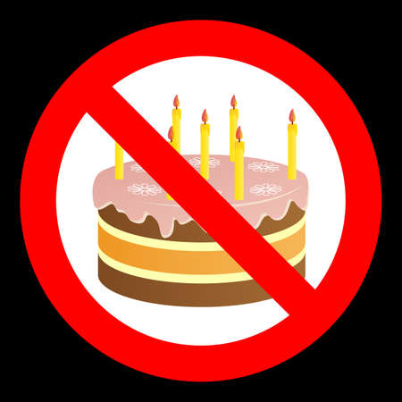 Birthday cake in prohibiting signs on a dark background. 向量圖像