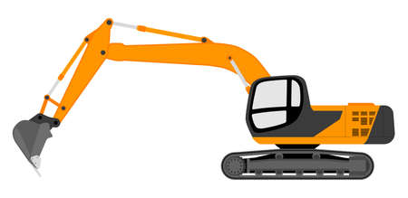 Color image of an excavator. Vector illustration. 向量圖像