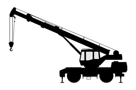 The crane Silhouette on a white background.