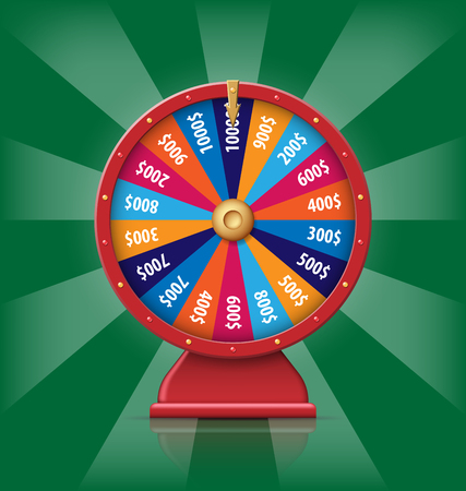 Realistic red 3d spinning fortune wheel, lucky roulette vector illustration