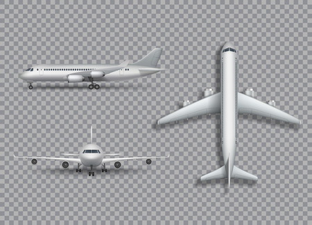 checker: White airplane mock up isolated. Aircraft, airliner realistic 3d illustration on transtarent background. Set of air plane from front, side and top view. Vector illustration.