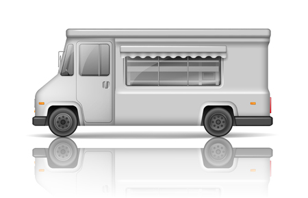 Realistic Food Truck isolated on white. Fast food or ice cream Van template for Mock Up for your design and transport advertising. White Service Delivery Truck blank surface