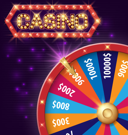 Spinning fortune wheel, Internet casino banner with glowing lamps for online casino, poker, roulette, slot machines, card games. Vector illustration, shiny background