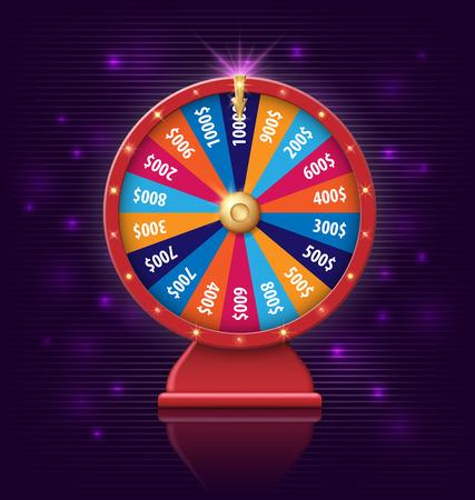Rad van fortuin met gloeiende lampen voor online casino, poker, roulette, fruitmachines, kaartspellen. realistische 3D-wiel van fortuin object geïsoleerd op donkere paarse achtergrond