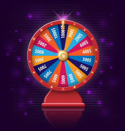 Wheel of fortune with glowing lamps for online casino, poker, roulette, slot machines, card games. realistic 3d wheel of fortune object isolated on dark violet background