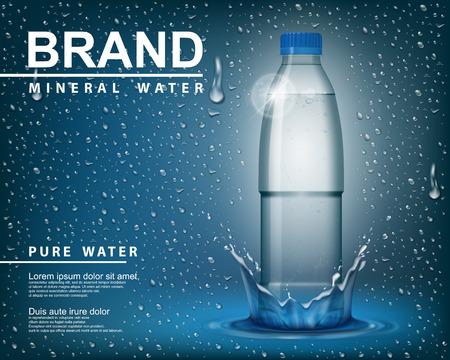 Annonce pure d'eau minérale, bouteille en plastique transparente de brillance avec des éléments de baisse sur le fond bleu. illustration vectorielle réaliste 3d Emballé modèle de maquette de récipient d'eau minérale potable. Banque d'images - 82241219