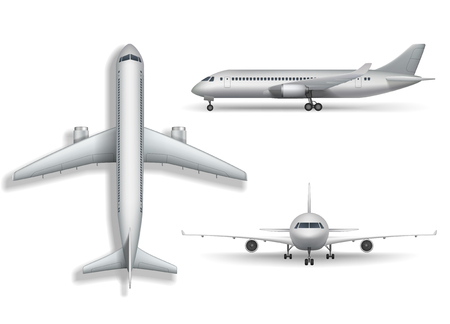 checker: Silver realistic airplane mock up isolated. Aircraft, airliner 3d illustration on white background. Set of air plane from front, side and top view. Vector illustration. Illustration