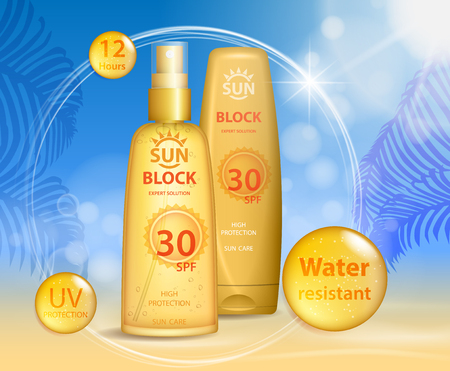 Sun protection, sunscreen and sunbath cosmetic products design face and body lotion with UV protection on palm beach summer background. Sunblock ads template. vector illustration