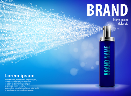 Blue spray bottle isolated on blue background with drops and soft bokeh for your design. Realistic cosmetic premium ads, facial treatment sprayer. Perfume or deodorant container 3d vector