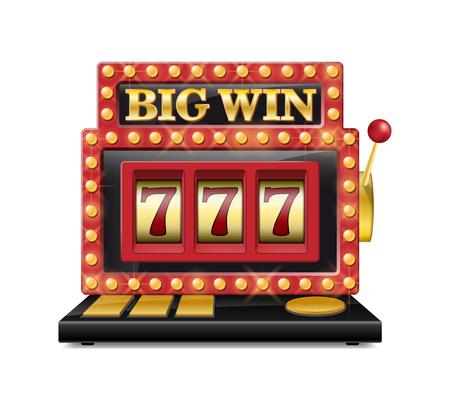 カジノ、ギャンブル ゲーム白で隔離のラッキー 7 のスロット マシン。ジャック ポット スロット大勝利カジノのマシン。ベクトルの 1 つの腕の山賊