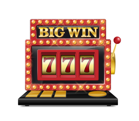 Slot machine for casino, lucky seven in gambling game isolated on white. Jackpot slot big win casino machine. Vector one arm bandit. Vectores