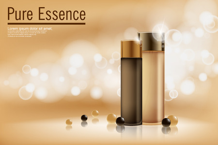 Perfume contained on bronze background with soft bokeh. Poster for the promotion of moisturizing and nourishing cosmetic premium product. Vector illustration.
