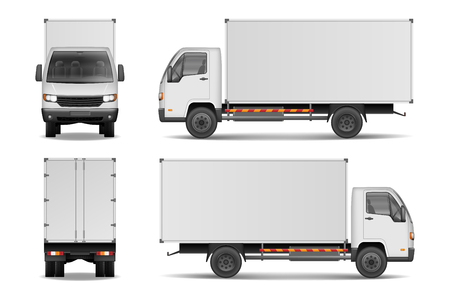 흰색 현실적인 배달화물 트럭입니다. 측면, 전면 및 후면보기 흰색 배경에 고립 된 광고에 대 한 트럭. 배달화물 트럭 벡터 일러스트 mockup.
