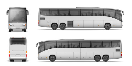 Coach bus isolated on white background. Travel Passenger Bus for advertising and your design. Realistic coach mockup Side, Front and Back view. Vector illustration
