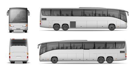 Bus de bus isolé sur fond blanc. Voyagez en autobus pour la publicité et votre design. Maquette d'entraîneur réaliste vue latérale, avant et arrière. Illustration vectorielle Vecteurs