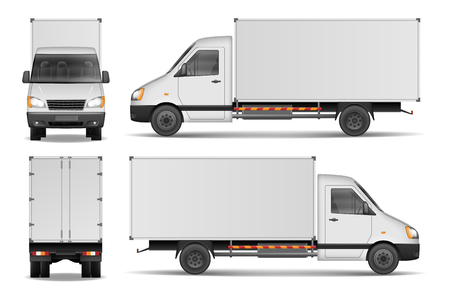 cargo van isolated on white city commercial delivery truck template