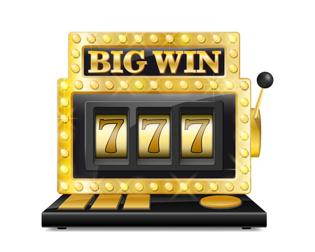 Golden slot machine wins the jackpot. lucky seven in gambling game Isolated on white background. Casino big win slot machine vector illustration Vectores