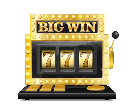 Gouden gokautomaat wint de jackpot. gelukkige zeven in het gokken spel dat op witte achtergrond wordt geïsoleerd. Casino grote win gokautomaat vectorillustratie