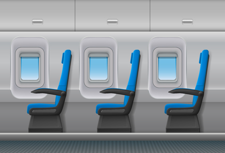 Passenger airplane vector interior. Aircraft indoor cabin with portholes and chairs seats. Vector illustration. Illustration