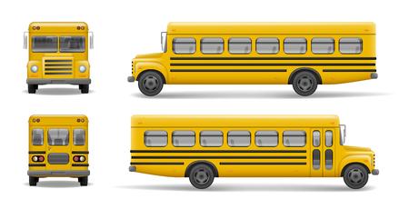 Gele schoolbus voorkant, achterkant en zijaanzicht. Vervoer en voertuigtransport, terug naar school. Relistic bus mockup. Vector illustratie.