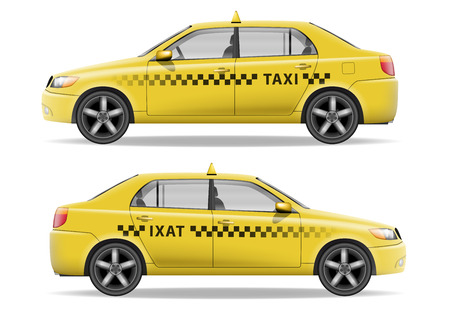 Realistic yellow Taxi car. Car mockup isolated on white. Taxi vector illustration Vectores