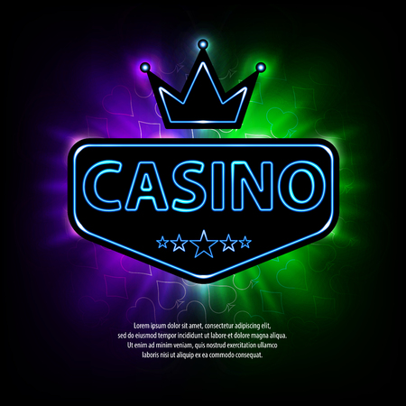 Bright vegas casino banner with neon frame and abstract gambling . Casino frame neon bright banner. illustration