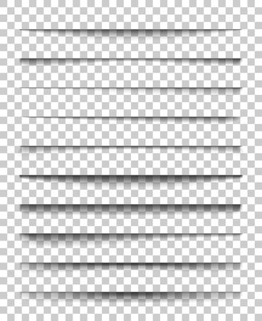 Divisore di pagina con ombre trasparenti. Insieme di vettore di separazione di pagine isolato. Ombre realistiche trasparenti per banner web e pubblicità. Illustrazione vettoriale per il vostro disegno, modello e sito