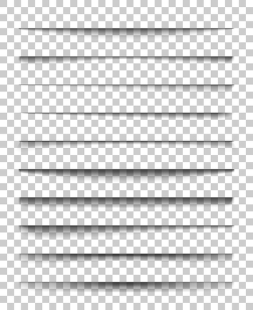 Page divider with transparent shadows. Set of pages separation vector isolated. Transparent realistic shadow for web banner and advertising. Vector illustration for your design, template and site.