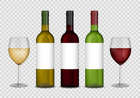 Transparent wine bottles and wineglasses mockup. red and white wine in bottle and glasses isolated. Vector illustration. Illustration