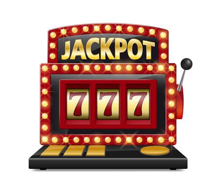 Red slot machine wins the jackpot Isolated on white background. Casino big win slot machine vector illustration.