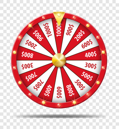 Red Wheel Of Fortune isolated on transparent background. Casino lottery luck game. Win fortune Wheel roulette. Vector illustration. Vettoriali