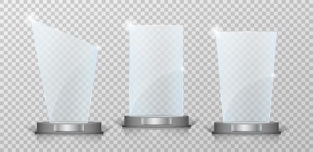 Empty Crystal glass trophy awards set. Glossy transparent trophy for award on transparent background. Vecror illustration 일러스트