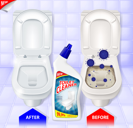 Toilet cleaner gel ads, top view of toilet, effect of cleaner before and after, 3d vector illustration