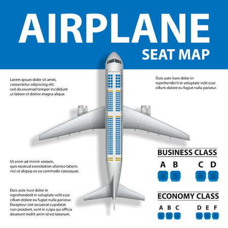 Banner, poster, flyer with Airplane Seat Map. Plane Business and Economy Class and Place for Text. Vector illustration