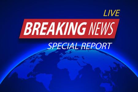 Brekend nieuws Live op planeetachtergrond. Bedrijfs of technologie concept met wereldkaart. TV-nieuws vectorillustratie. Stock Illustratie
