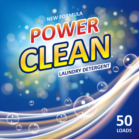 Power clean soap banner ads design. Laundry detergent colorful Template. Washing Powder or Liquid Detergents Package design. Vector illustration Vectores