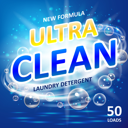 Soap ultra clean design product. Toilet or bathroom tub cleanser. Wash soap background design. Laundry detergent package ads. Washing machine laundry detergent packaging template. Vector illustration Vettoriali