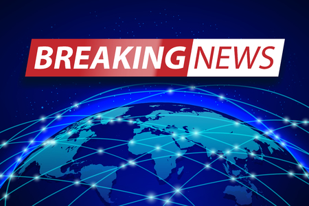 Breaking news live on blue world map background. Business technology concept Banner design. TV news Vector illustration