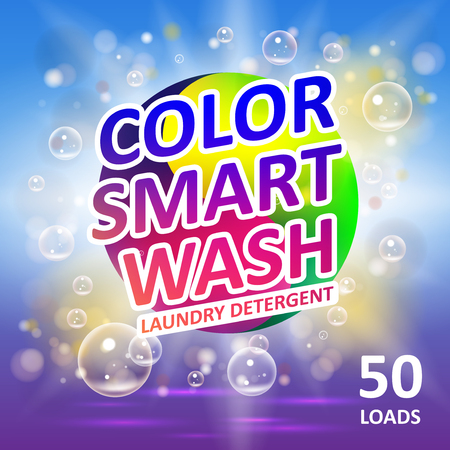 Laundry detergent package ads. Creative soap smart clean design product. Toilet or bathroom color tub cleanser design. Washing machine laundry detergent packaging template. Çizim