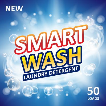 Smart clean soap banner ads design. Laundry detergent fresh clean Template. Washing Powder or Liquid Detergents Package design.