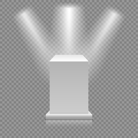 White empty podium isolated on transparent background. Museum pedestal with spotlights. 3d Vector illustration Illusztráció
