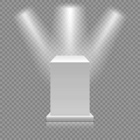 Wit leeg podium dat op transparante achtergrond wordt geïsoleerd. Museumvoetstuk met schijnwerpers. 3D-vectorillustratie