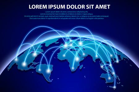 インターネットとデジタル接続のグローバル化の概念とグローバル接続のバック グラウンド