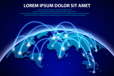 Internet and global connection background with digital connection globalization concept Çizim