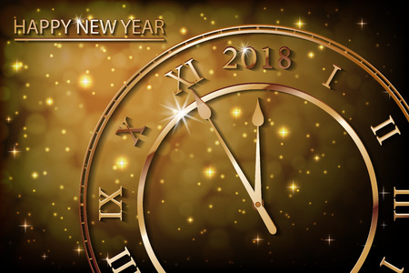 New Year 2017 gold background with bronze old clock. Greetings banner with sepia background. Vector illustration EPS 10