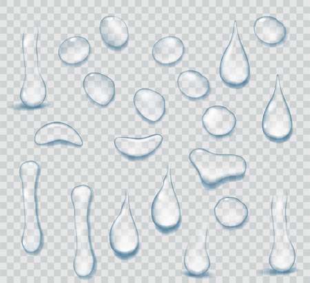 Czysta czysta woda spada realistyczny zestaw na przezroczystym tle. Realistyczne tło wody z kroplami.